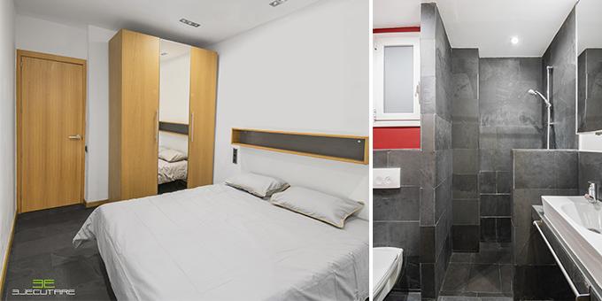 Dormitorio principal y baño de la vivienda en Parc Güell